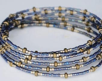 Your favorite team/gold, blue/Donate/affordable/glass/beads/wire/boho/beach/girls/women/wrap/stackable/fun/funky/unique/