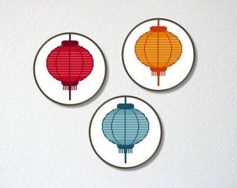 Counted Cross stitch Pattern PDF. Instant download. Chinese lantern. Includes easy beginner instructions.