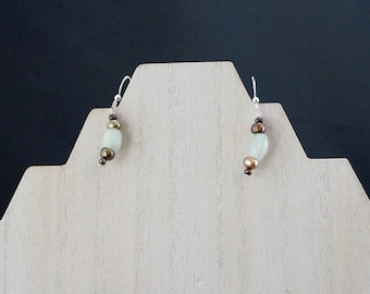 Jade and Freshwater Pearl Earrings