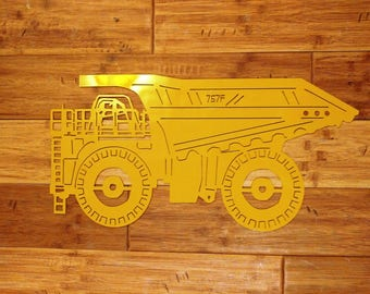 Custom Metal CAT 757F Dump Truck Can be Personalized with Name, Business Address Sign Wall Art, Wall Hanging