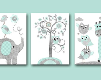 Elephant Giraffe Gray Mint Instant Download Art Baby Boy Nursery Art Kids Wall Art Digital Download Print Digital Art Set of 3 8X10 11X14