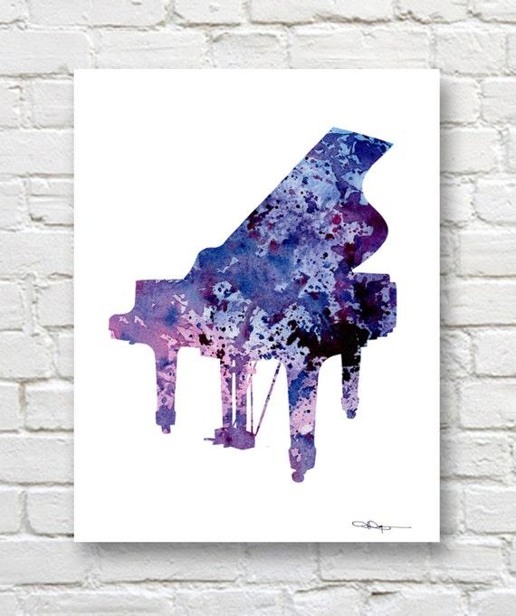 Piano Art Print Abstract Watercolor Painting Music Wall