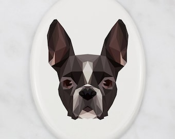 A ceramic tombstone plaque with a Boston Terrier dog. Art-Dog geometric dog