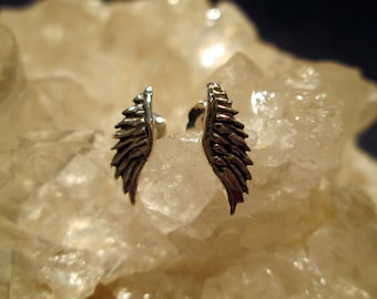 Wing Post Earrings ~Opposite Carvings~ Hand Cast Sterling Silver w/ Antiquing