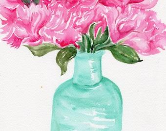 Peonies Watercolor Painting Original 8 x 10  pink peonies in vase,  Sharon Foster Art watercolor peonies flowers, pink peony water color