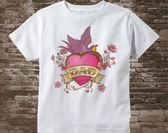 Pink Tattoo Shirt, Personalized Pink Tattoo Heart Shirt or Onesie with Any Name, Valentine - Heart t-shirt kids 12302015z