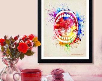 "Fine Art Print - ""Watercolor Mouth "" 8.5""x11"", Dental print, Dental Hygenist Gift, Dentist Office Decor, Watercolor Splatter art"