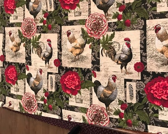 Red snd black rooster patcheork table runner