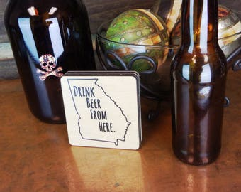 Available in all 50 States! State Specific Drink Beer From Here Coasters, Wood Coasters, Drink Coasters, Drink Beer From Here, Drink Local