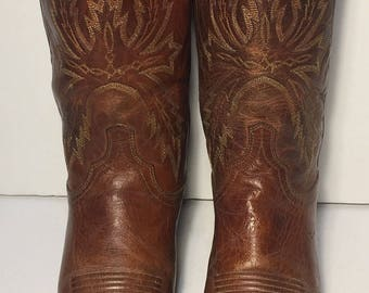 LUCCHESE Brown Leather Western Riding Cowboy Riding Boots Men's Size 9.5 EE