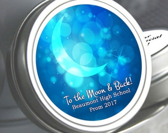 "12 Personalized To the Moon and Back Mint Tin Prom Favor  - Select the quantity you need below in the ""Pricing & Quantity"" option tab"