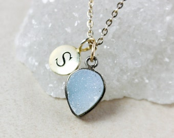 50% OFF SALE - Initial Charm and Blue Druzy Necklace – Sterling Silver or 14K Gold Filled Chain