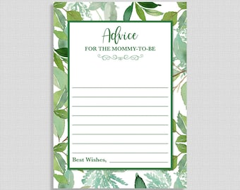 Green Advice for the Mother To Be Shower Cards, Greenery Baby Shower Game, Leaves, Foliage, INSTANT PRINTABLE