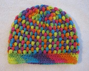 Rainbow Crochet Winter Hat