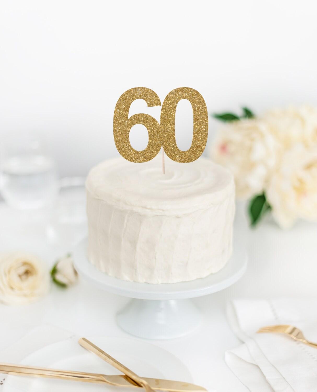 60 Cake Topper - 60th Birthday Cake Topper - Sixty Cake Topper ...