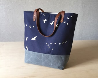 Large Tote Bag in Flight Dusk with Waxed Canvas bottom
