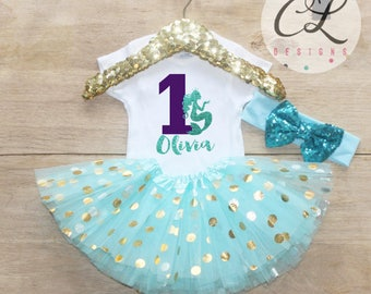 First Birthday Outfit / Baby Girl Clothes 1 Year Old Tutu Outfit One Birthday Set 1st Birthday Girl Outfit Baby Tutu Outfit Set Mermaid 212