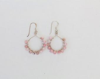 Sterling Silver Faceted Pink Rhodonite Wire Wrapped Hoop Earrings