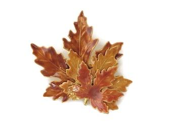 Autumn Leaf Brooch, Vintage Fall Pin, Golden Orange Brooch, Enameled Goldtone Pin, Large Pin, Gift for Her
