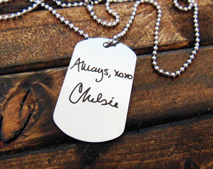 Actual Handwriting Dog Tag - Necklace or Keychain Option -  Signature Dog Tag -