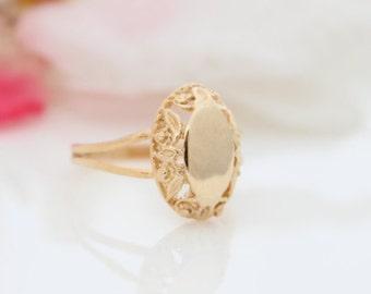 Personalized initial ring | Gold signet ring | Custom gold ring | Monogram ring | Name ring | Engraved ring | Promise ring