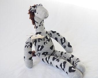 Sock toy, sock giraffe.  Soft plush toy giraffe. Giraffe nursery decor. Giraffe baby shower gift. Grey giraffe dol. Stuffed giraffe.