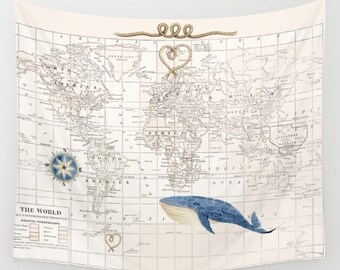 World Map with Whale throw blanket -  cozy, sofa, couch, bed, travel decor, coastal, soft, cream and blue, coastal, winter, warm, wanderlust