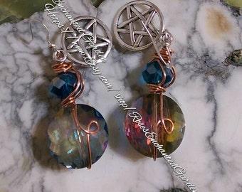 Rainbow Crystal Pentacle Earrings Ooak