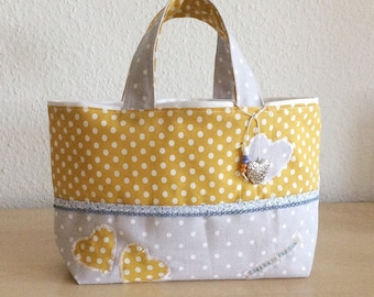 Bag girl - girl tote bag - tote bag cotton/linen and linen hearts