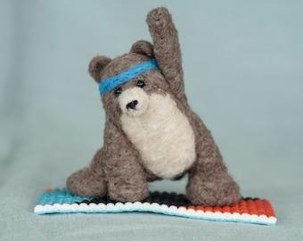 Needle Felted Bear - Yoga