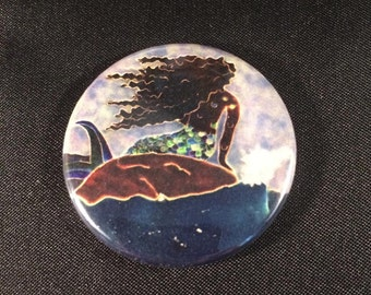 "Mermaid and Ocean 1.5"" pinback button or magnet-Black mermaid African mermaid Caribbean mermaid"