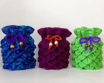 Set of three crocodile stitch dice bags, game bags, drawstring bags