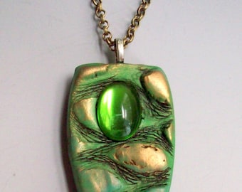 Pendant Necklace Green and Gold with Vintage Cabochon, Organic Textures