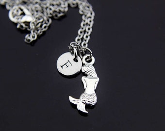 Fairytale Gift Silver Mermaid Charm Necklace Siren Jewelry Fantasy Jewelry Personalized Necklace Initial Charm Initial Necklace