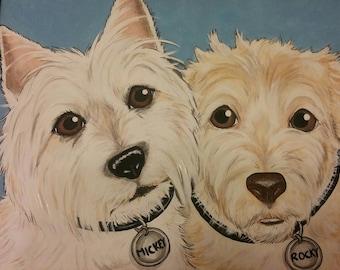 CUSTOM Painted Pet Portrait 11x14 Dog, cat, Painting pet lover, pet memorial, pet loss, gift