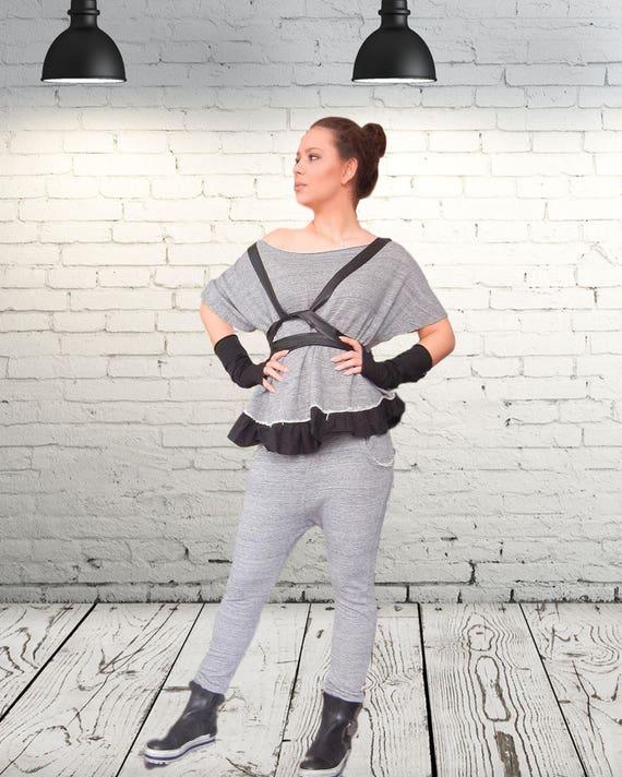 Lagenlook Extravagant Top Harem Pants Set, Loose Asymmetric Set with Eco Leather Vest and Gloves, Maxi Top Drop Crotch Pants Set