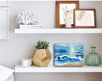 Watercolor Ocean Painting Abstract Canvas Print - Aqua Teal Blue Sea Coastal Beach Giclee Art Print - 8x10/11x14/12x16/16x20 - Playa Azul