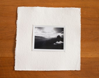 Original Photograph Hand-stitched on Watercolor Paper with Deckled Edge