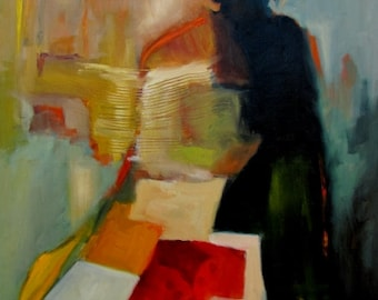 Abstract Figurative Original Oil Painting by CES - African Woman Quilt Female Portrait Figure Painting Red Abstract Figurative Painting ART