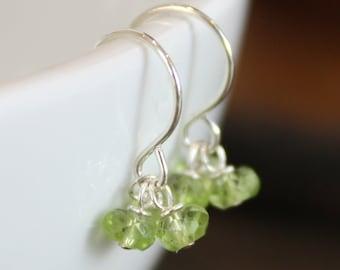 Gemstone Earrings - Three Birthstones, Sterling Silver - Gemstones, Pearls