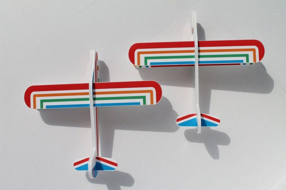 Airplane toys Rainbow air planes Boy Set of 6 Biplanes Small children's plane Gift for kids Funny outdoor game Birthday party Kids aeroplane