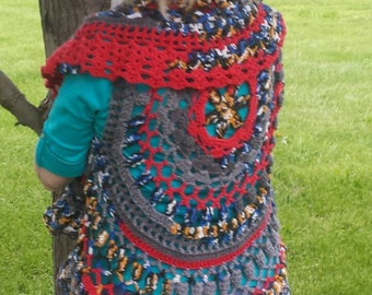 PDF Crochet Pattern for Bohemian Circle Vest for Teens and Adults Pattern ONLY