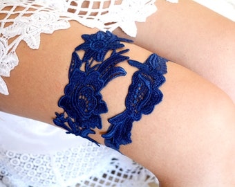 Navy Blue Garter, Wedding Garter, Lace Wedding Garter, Wedding Garter Set, Something Blue, Garter, Blue Garter, Bridal Garter, Navy Garter