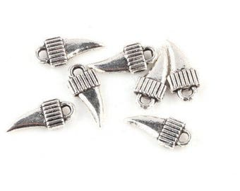 10 charms small croc metal antique silver plated