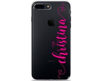 Custom NAME iPhone Case Clear iPhone 8 Plus Case iPhone X Case Cute iPhone 7 Plus Case iPhone 6s Plus Case iPhone 6 Plus Case iPhone SE Case