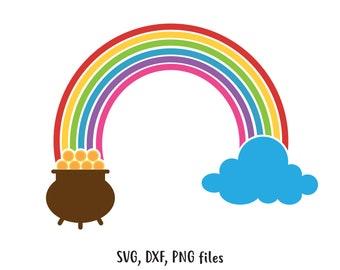 St Patrick's day svg, Rainbow SVG, Gold pot DXF, Gold pot Cut File, Rainbow clip art, Gold pot PNG, Rainbow design, Saint Patrick's day svg