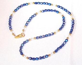 Blue Iris Crystal Necklace