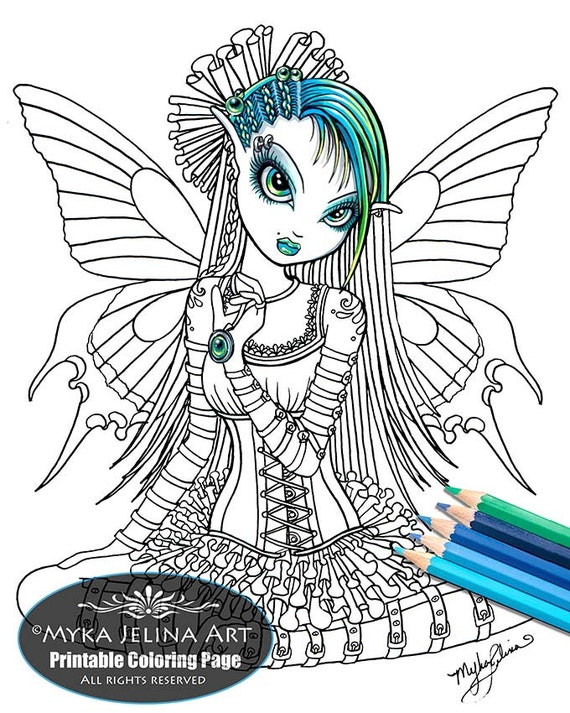 Katy Butterfly Cute Gothic Fairy Digital Download Coloring Page Myka