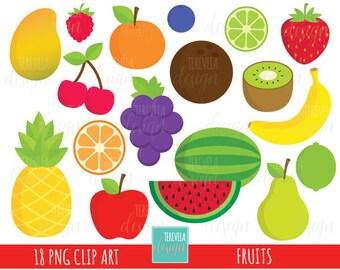 50% SALE FRUIT clipart, commercial use, cute clipart, apple/banana/cherry/watermelon/kiwi/mango, grapes, pineapple, orange/lemon
