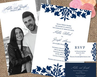 Navy & White Wedding Invite Suite with Photo Back / 'The Kallie' Decorative Scrolls - Printable DIY or We Print #Navy #Scrolls #Kallie